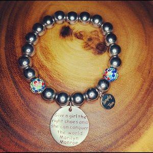 Hematite Bracelet w/ Marilyn Monroe Quote Charm
